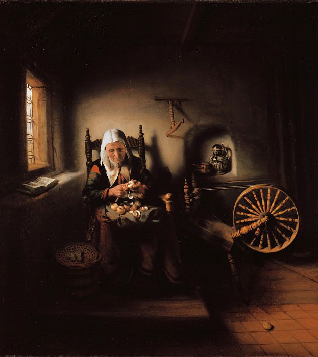 Nicolaes Maes (1632-1693) - The old woman peeling apples. Part 4