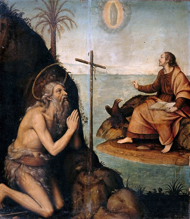 Nicolas Borras (1530-1610) - The st. Onuphrius the Great and St John the Evangelist in a Landscape. Part 4