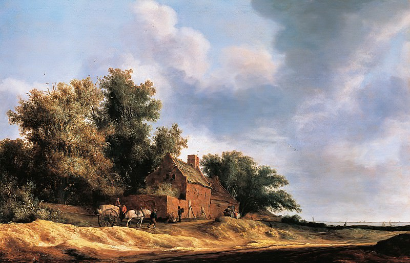 Salomon van Ruysdael (c.1602-1607) - Landscape with farmstead. Part 4
