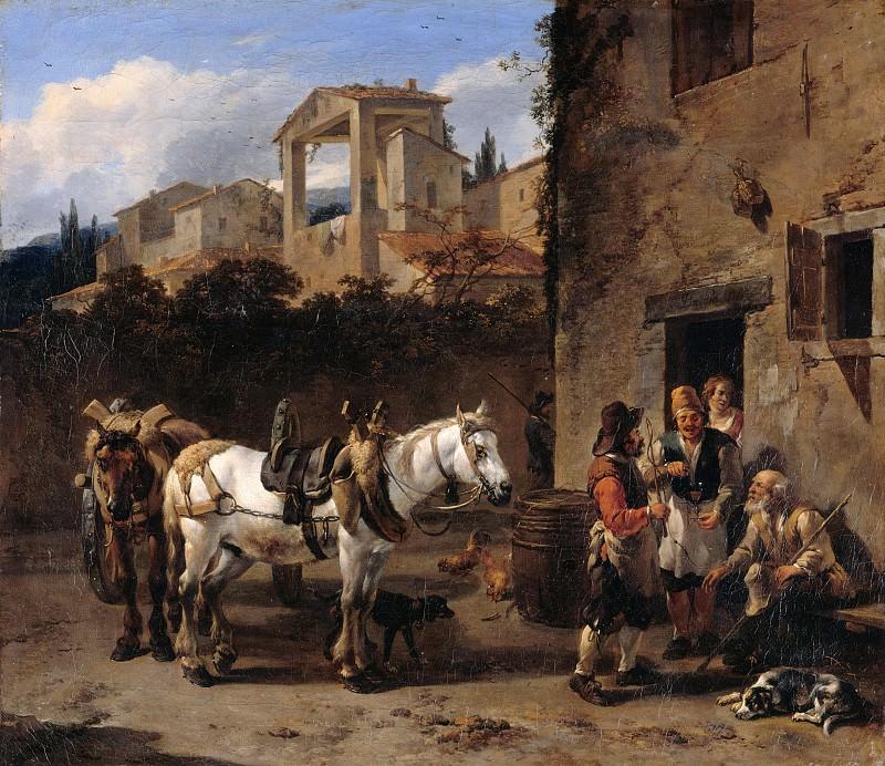 Nicolaes Berchem (1620-1683) - Stop at the inn. Part 4