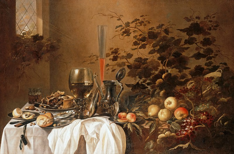 Pieter Claesz and Roelof Koets - Still life with drinking vessels and fruits. Part 4