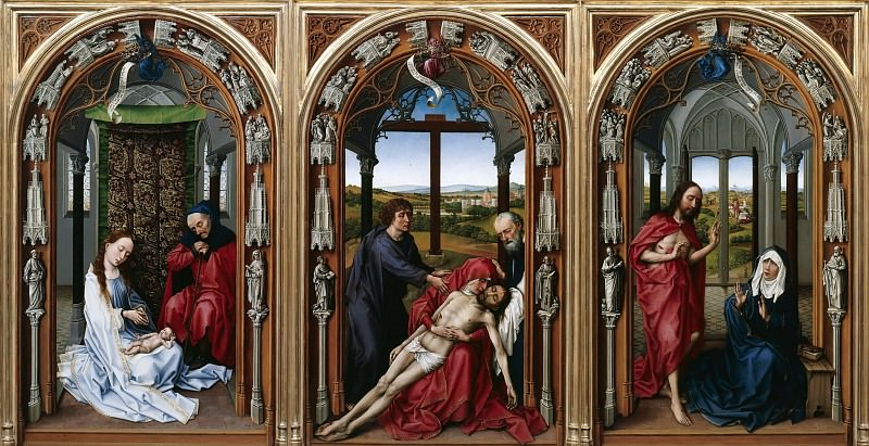 Rogier van der Weyden (1400-1464) - Altar of the Virgin - Holy Family, Lamentation of Christ, Christ Appearing to Mary. Part 4