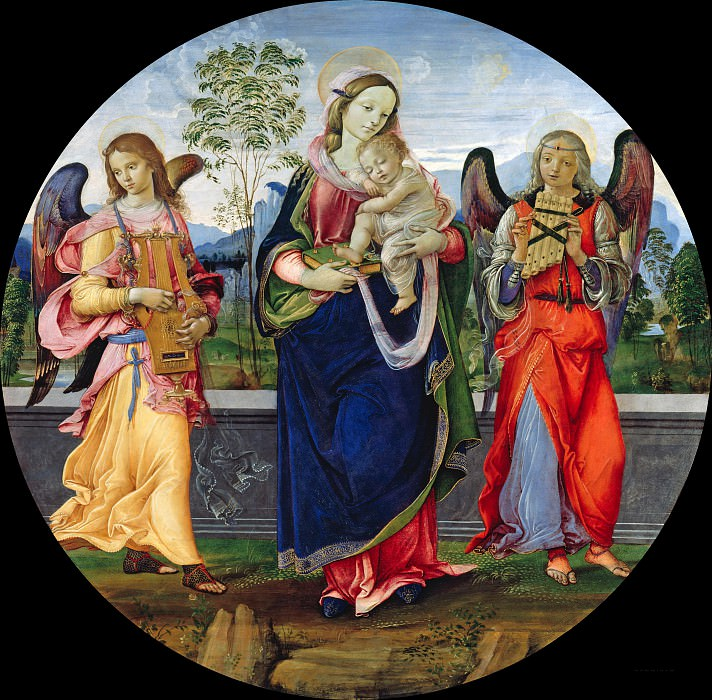 Raffaellino del Garbo (c.1470-c.1525) - Mary with the Child and two angels making music. Part 4