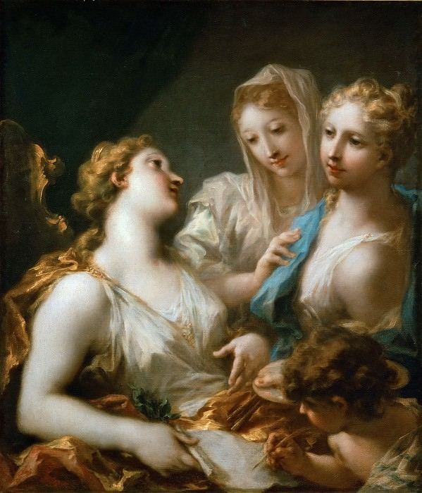 Giovanni Antonio Pellegrini (1675-1741) -- Painting and Drawing Educating Love. Part 4 Louvre