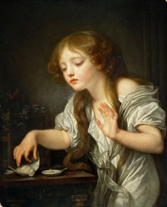 Jean-Baptiste Greuze (1725-1805) -- The Dead Bird, or A Child Hesitating to Touch a Bird, Fearing That It Might Be Dead. Part 4 Louvre