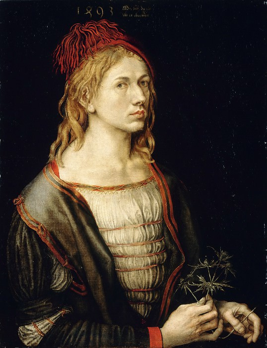 Albrecht Dürer -- Portrait of the artist holding a thistle. Part 4 Louvre
