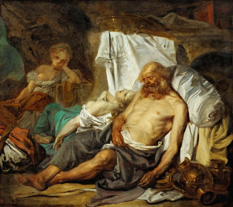 Jean-Baptiste Greuze (1725-1805) -- Lot and His Daughters. Part 4 Louvre