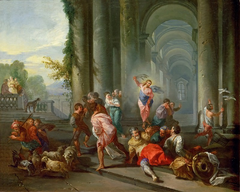Giovanni Paolo Panini -- The Merchants Driven from the Temple.. Part 4 Louvre