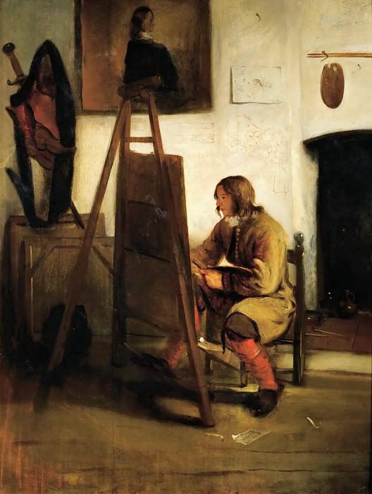 Carel Fabritius -- Young Painter in his Studio. Part 4 Louvre