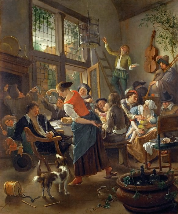 Jan Steen -- A Happy Family Dinner. Part 4 Louvre