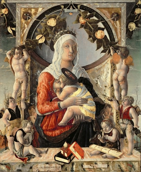Marco Zoppo -- Madonna and Child surrounded by eight angels. Part 4 Louvre