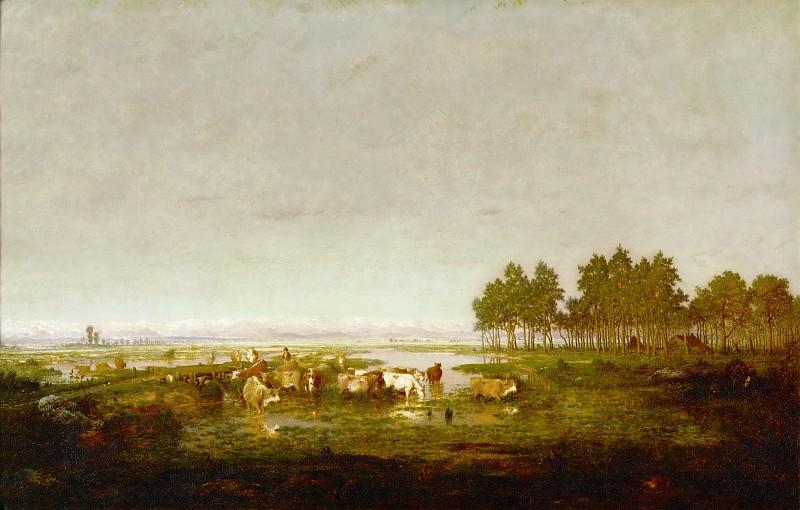 Руссо, Пьер-Этьен-Теодор (1812 Париж - 1867 Барбизон) -- Болото в Ландах. часть 4 Лувр