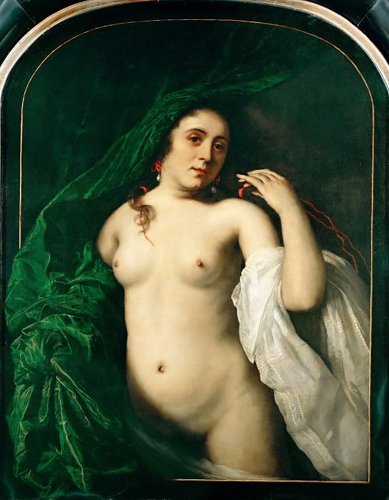 Bartholomeus van der Helst (1613-1670) -- Nude Lifting a Curtain. Part 4 Louvre