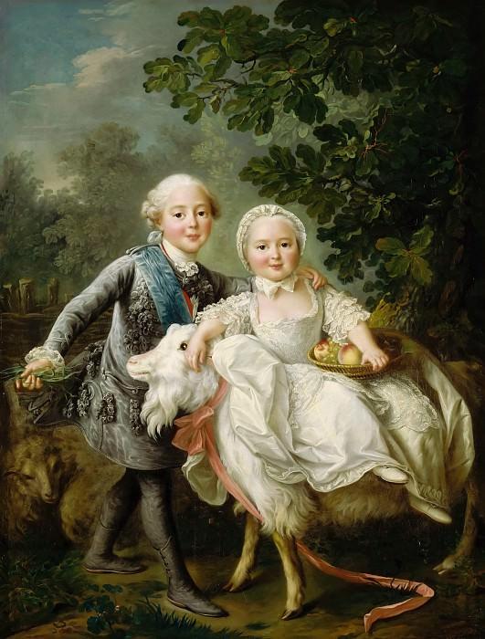 François Hubert Drouais -- The Count d'Artois and Madame Clotilde. Part 4 Louvre
