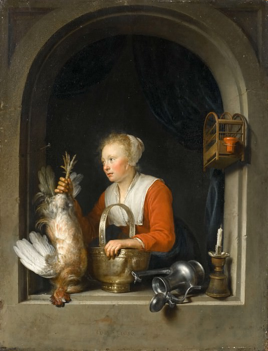 Gerrit Dou -- Woman hanging a rooster at her window, also called the Dutch housewife. Part 4 Louvre