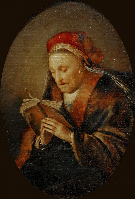 Gerrit Dou -- Old Woman Praying (the Prophet Ann?), called Rembrandt's Mother. Part 4 Louvre