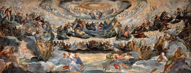 Tintoretto, Jacopo Robusti -- Paradise, sketch for the Sala del Maggior Consiglio of the Palazzo Ducale in Venice, 1579-1580 Canvas, 143 x 362 cm INV. 570. Part 4 Louvre
