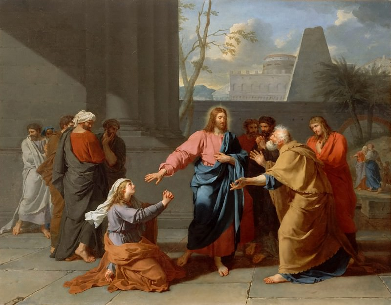 Jean-Germain Drouais -- Christ and the Canaanite woman. Part 4 Louvre