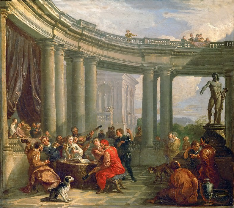 Giovanni Paolo Panini -- A concert in the circular colonnade of Doric style.. Part 4 Louvre