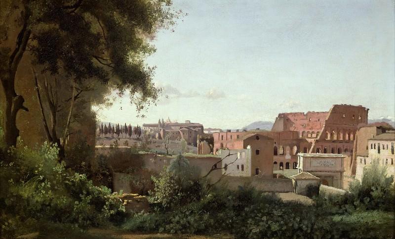 Коро, Жан-Батист-Камиль (Париж 1796-1875) -- Вид Колизея от садов Фарнезе, 1826, 30х49. Part 4 Louvre