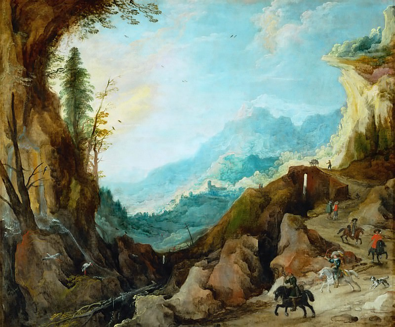 Joos de Momper the younger -- Mountain Landscape with Bridge and Four Riders. Part 4 Louvre