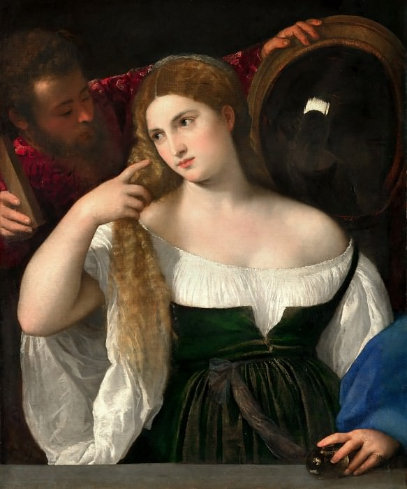 Titian -- Woman with a Mirror. Part 4 Louvre