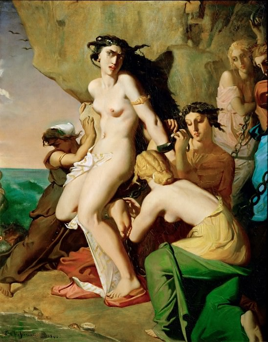 Théodore Chassériau -- Andromeda Chained to the Rock by the Mermaids. Part 4 Louvre