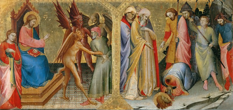 Lorenzo Monaco -- Hermogenes bound by the devils he sent against Saint James the Elder; Martyrdom of Saint James. Part 4 Louvre