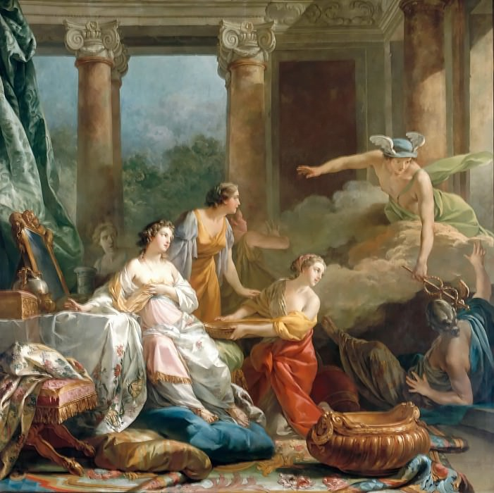 Jean Baptiste Marie Pierre -- Mercury, in love with herse, changes Aglauros into stone. Part 4 Louvre