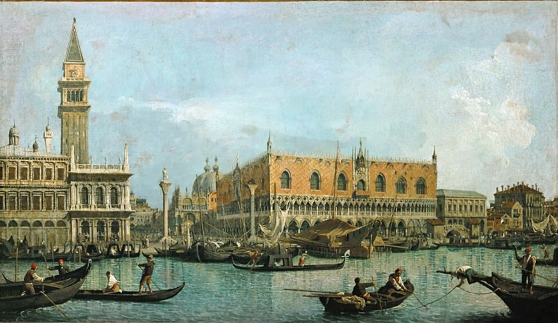 Francesco Guardi (1712-1793) -- Canal of San Marco with the Piazza San Marco. Part 4 Louvre