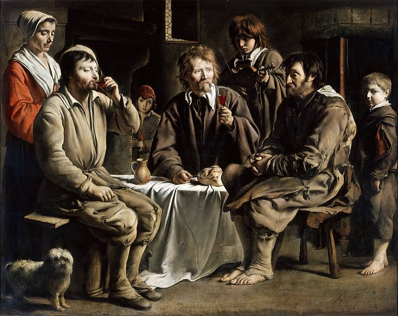 Ленен, братья Антуан (ок1588-1648), Луи (ок1593-1648), Матье (1607-1677) -- Крестьянская трапеза. часть 4 Лувр
