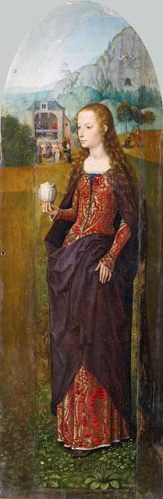 Мемлинг, Ханс (ок1435 Зелигенштадт - 1494 Брюгге) -- Триптих Отдых на пути в Египет со святыми Иоанном Крестителем и Марией Магдалиной, правая створка. часть 4 Лувр