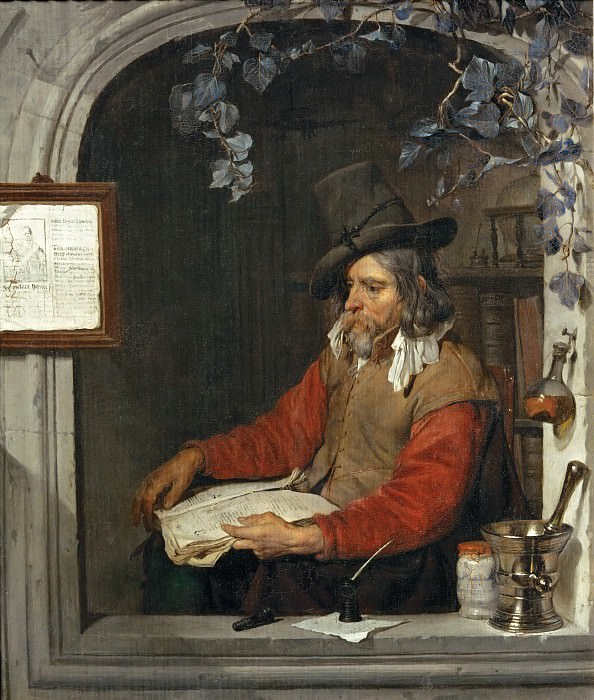 Gabriel Metsu -- The Apothecary (The Chemist). Part 4 Louvre