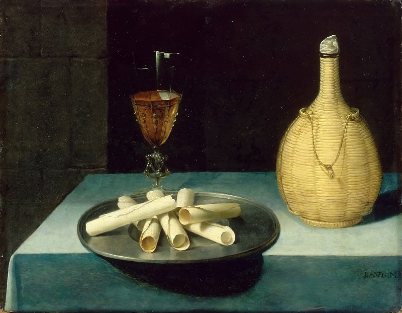Lubin Baugin -- Still Life with Wafers (Le dessert de gaufrettes). Part 4 Louvre