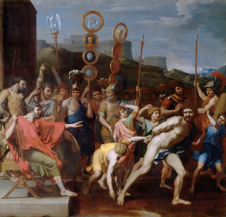Nicolas Poussin -- Camille delivers the Schoolmaster of Falerii to his pupils. Part 4 Louvre