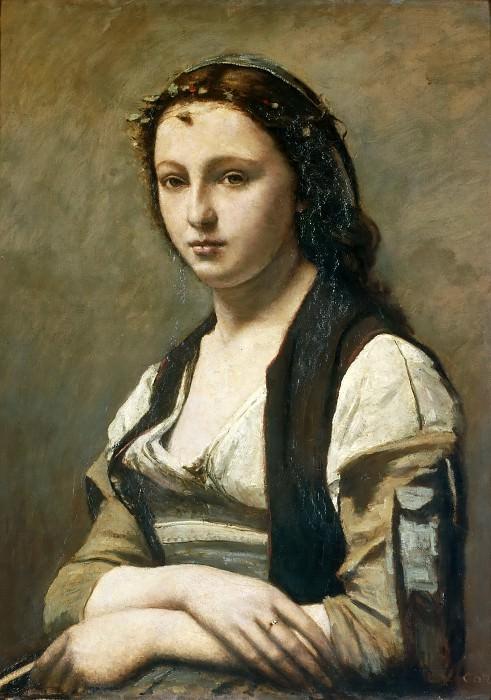 Коро, Жан-Батист-Камиль (Париж 1796-1875) -- Женщина с жемчужиной, 1868-70, 70х55, Коро, Жан-Батист-Камиль (Париж 1796-1875). часть 4 Лувр