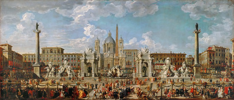 Giovanni Paolo Panini -- Preparations for fireworks and decoration for the festival given in honor of the birth of Louis, the Dauphin of France, in the Piazza Navona. Part 4 Louvre