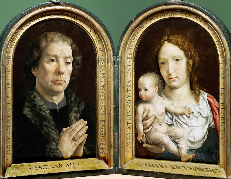 Jan Gossaert (c. 1478-1532) -- Carondelet Diptych: Jean Carondelet and the Virgin and Child. Part 4 Louvre