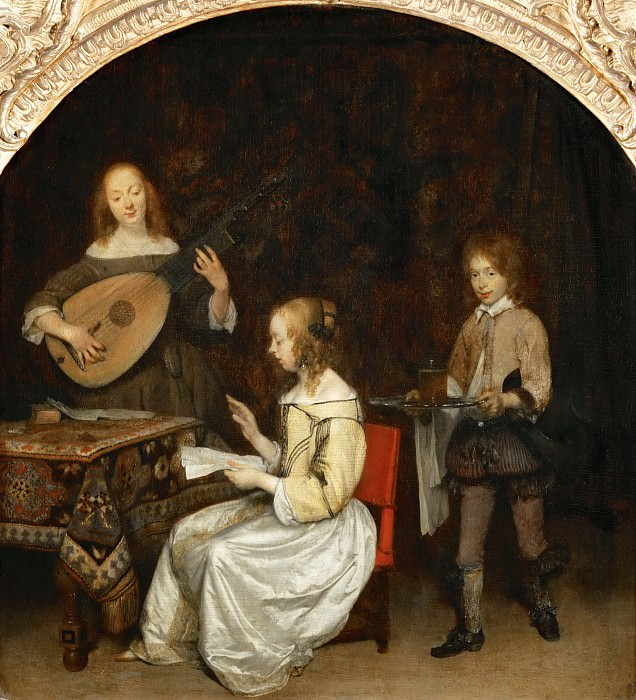 Gerard Terborch II -- The concert: singer and theorbé lute player. Part 4 Louvre