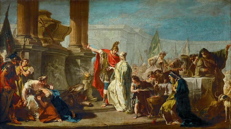 Giovanni Battista Pittoni the Younger (1687-1767) -- Polyxena Led as a Sacrifice to the Ghost of Achilles. Part 4 Louvre