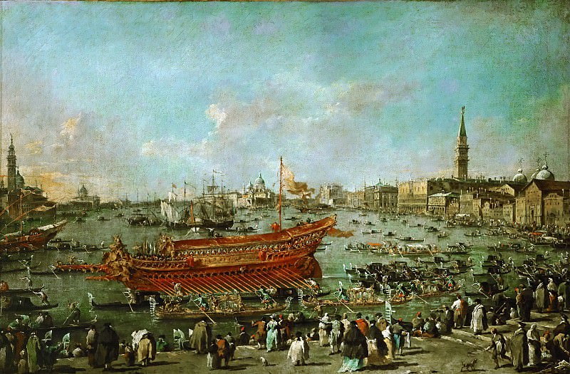Francesco Guardi (1712-1793) -- Doge in the Bucintoro on His Way to the Lido for the Ceremony of Wedding the Adriatic (Departure of the Buccintoro Towards the Lido for the Ceremonies of Ascension Day). Part 4 Louvre