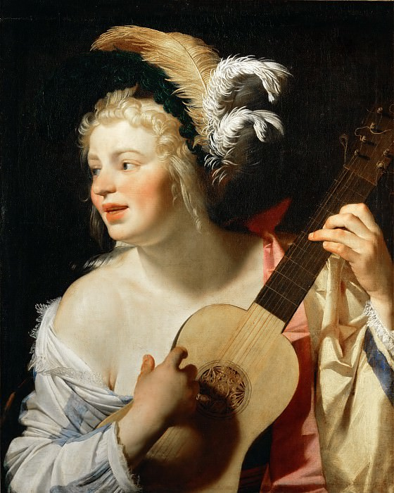 Gerrit van Honthorst (1590-1656) -- Woman Playing the Guitar (The Guitarist). Part 4 Louvre