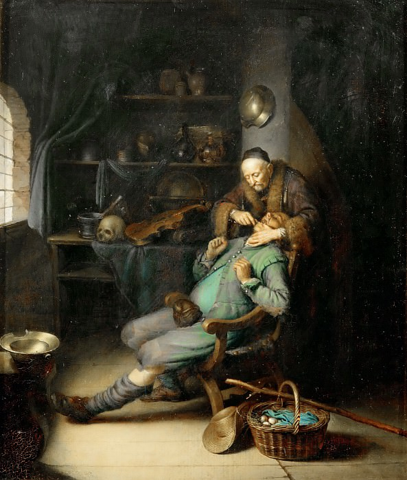 Gerrit Dou -- The Dentist. Part 4 Louvre