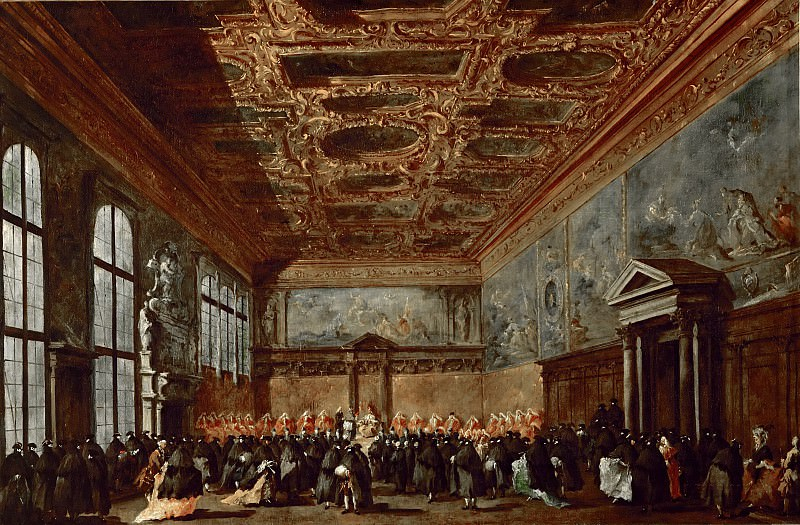 Francesco Guardi (1712-1793) -- The Doge of Venice in the Sala del Collegio. Part 4 Louvre