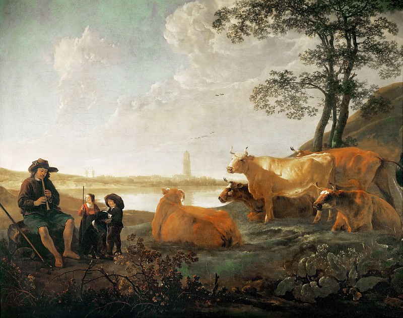 Aelbert Cuyp -- Landscape with Shepherds and Flock, near Rhenen. Part 4 Louvre