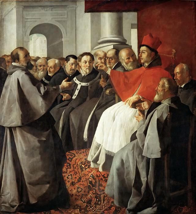 Francisco de Zurbarán -- Saint Bonaventure at the church-council of Lyon. Part 4 Louvre