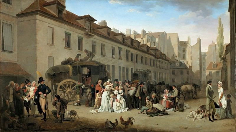Louis Léopold Boilly (1761-1845) -- Arrival of the Stagecoach in the Courtyard of the Messageries, rue Notre-Dame-des-Victoires, Paris. Part 4 Louvre