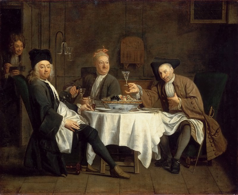 Etienne Jeaurat -- The Poet Alexis Piron with his Friends Jean Joseph Vadé and Charles Collé (Les buveurs de vin). Part 4 Louvre