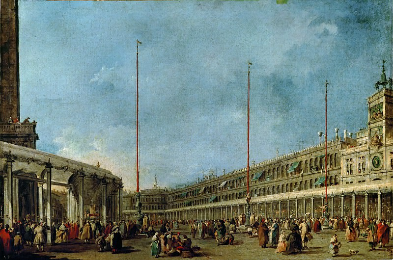 Francesco Guardi (1712-1793) -- Festival of Corpus Christi in the Piazza San Marco, Venice. Part 4 Louvre