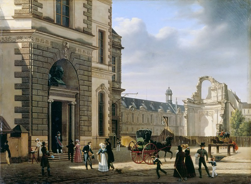 Etienne Bouhot -- View of the main entrance of the Musée Royal (Entrance of the Museum and the Ruins of Saint-Louis du Louvre). Part 4 Louvre